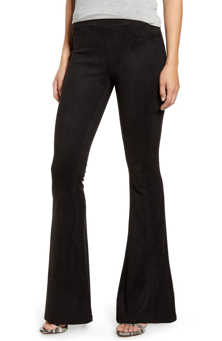 BLANKNYC Faux Suede Flare Pull-On Pants, Main, color, BLACK