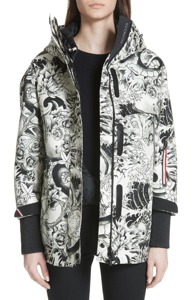 MONCLER Neves Tattoo Print Hooded Down Coat, Main, color, 001