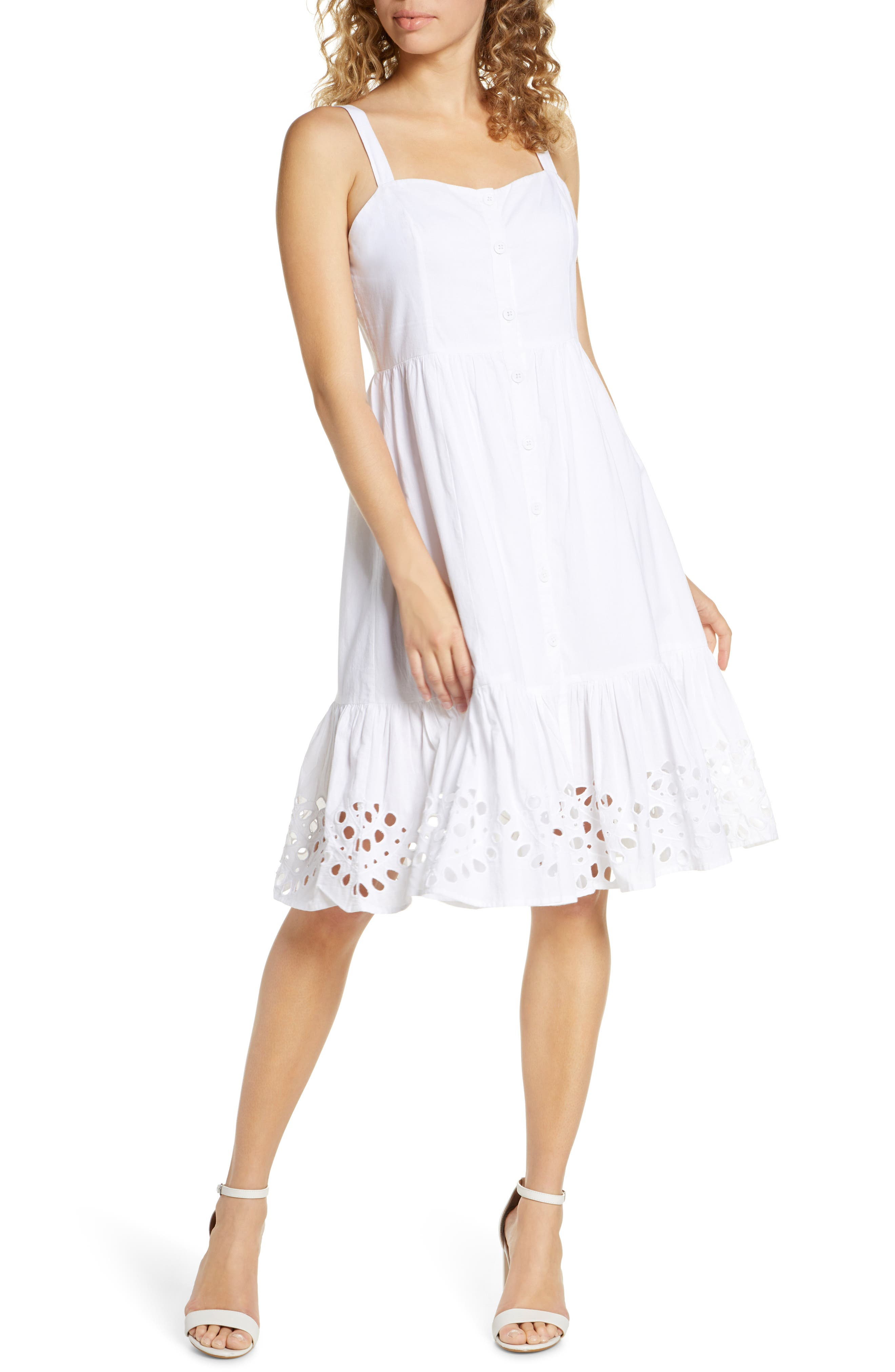 French Connection Ancolie Sleeveless Broderie Sundress, White