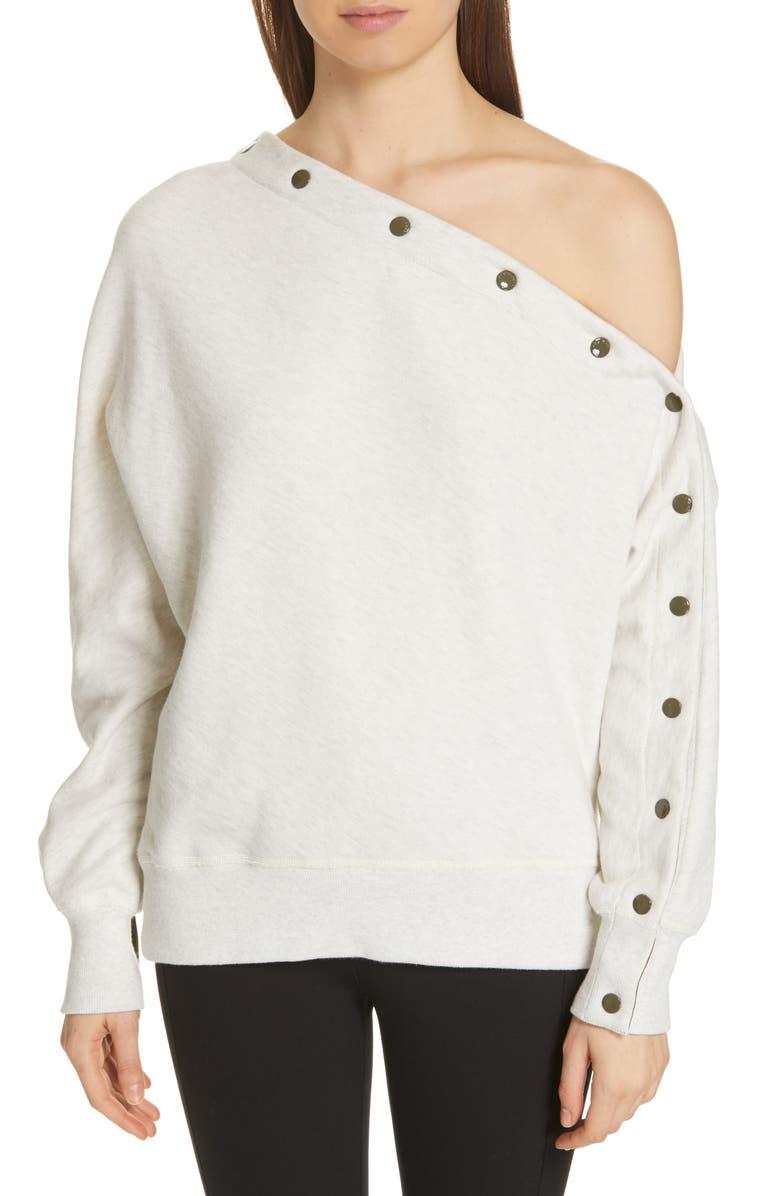 RAG & BONE Kate One-Shoulder Button Sleeve Sweatshirt, Main, color, 038