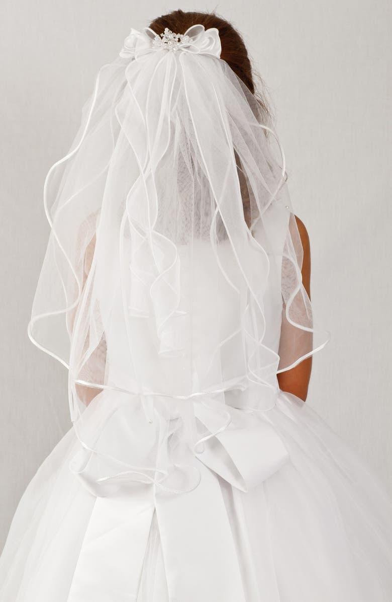LAUREN MARIE Organza Bow Veil, Main, color, 100