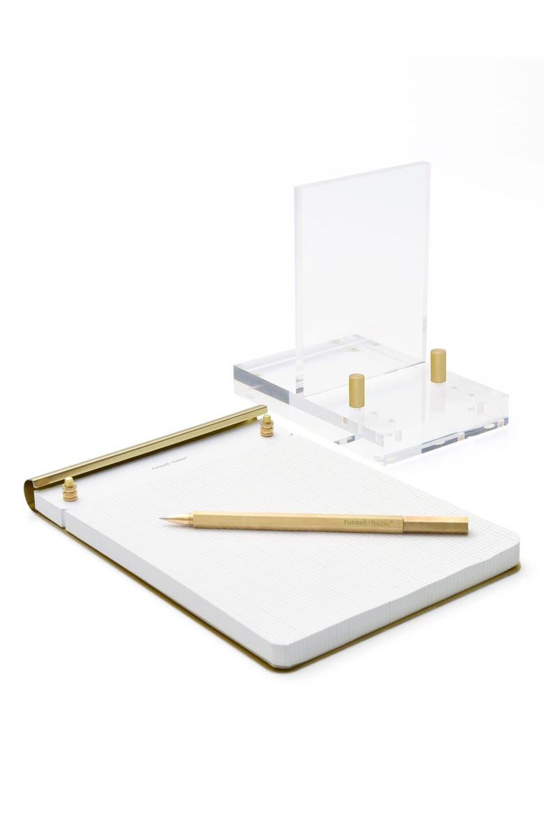 RUSSELL + HAZEL Brass Desk Set, Main, color, WHITE