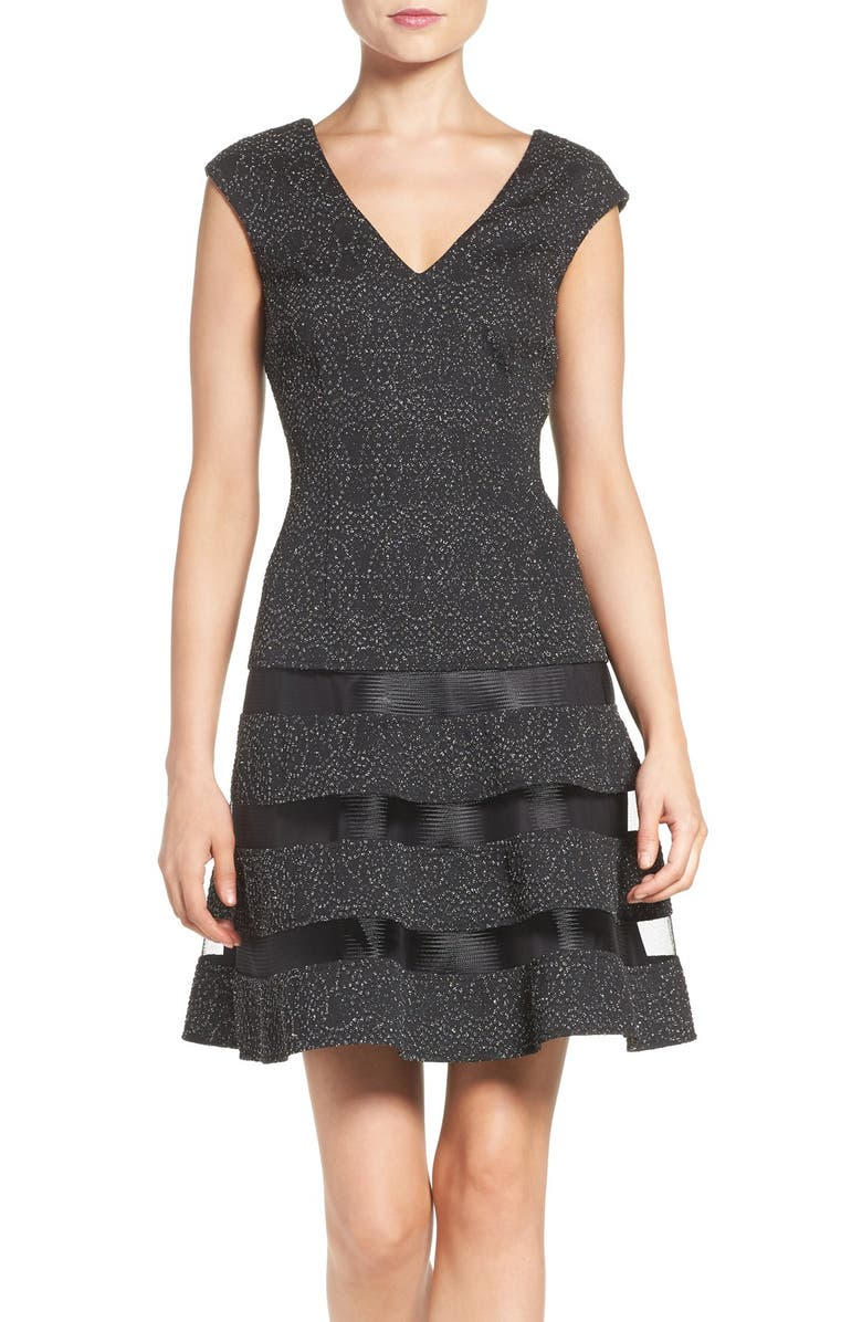 AIDAN BY AIDAN MATTOX Metallic Knit Fit & Flare Dress, Main, color, 017