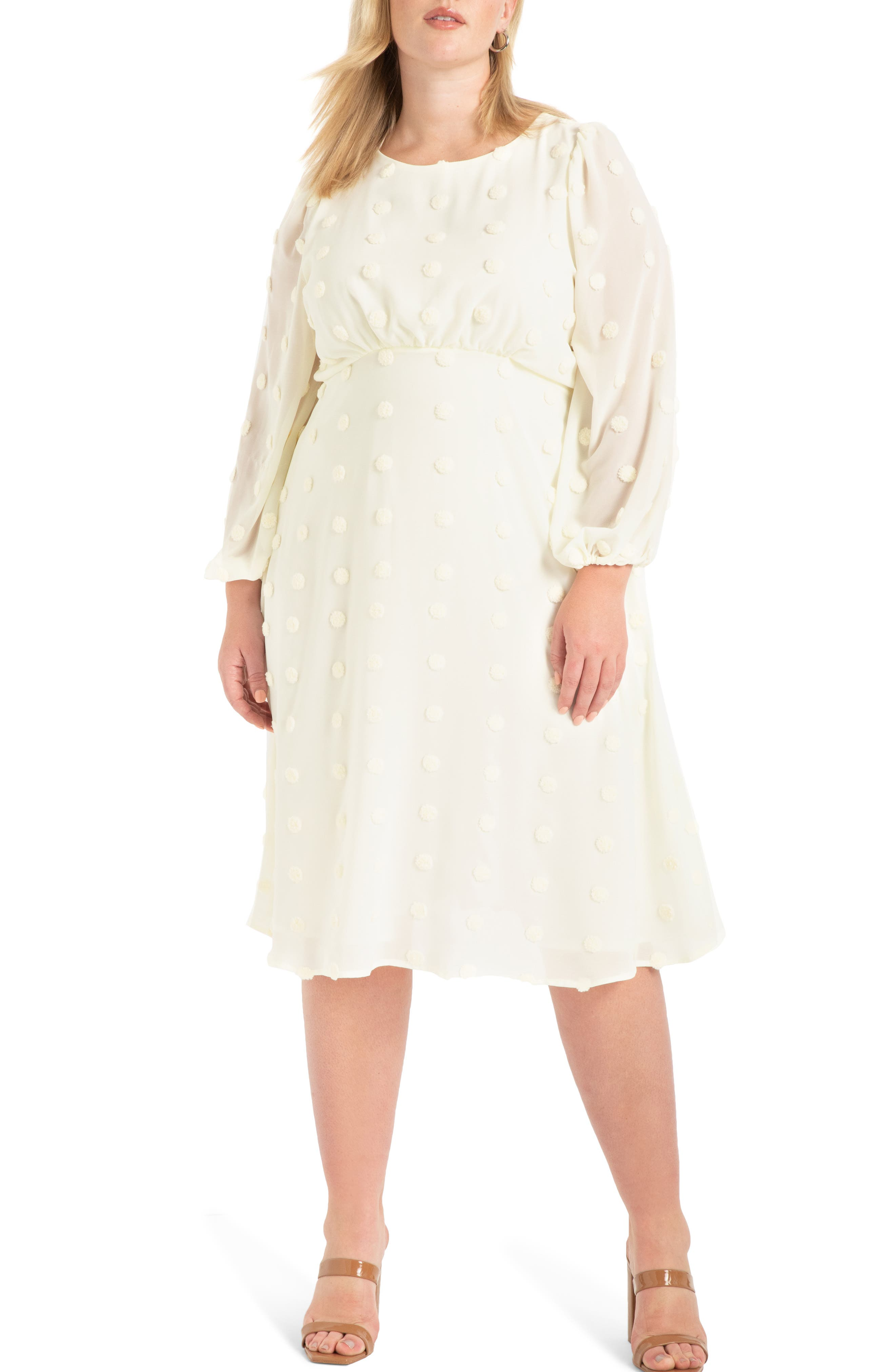 60s Wedding Dresses   70s Wedding Dresses Plus Size Womens Eloquii Dot Chiffon Long Sleeve Midi Dress Size 28W - White $129.95 AT vintagedancer.com
