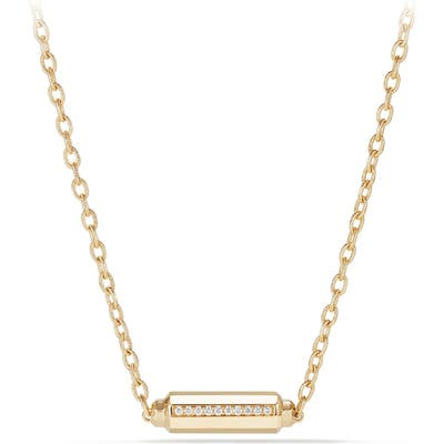 David Yurman Barrels Single Station Necklace With Diamonds In 18K Gold
