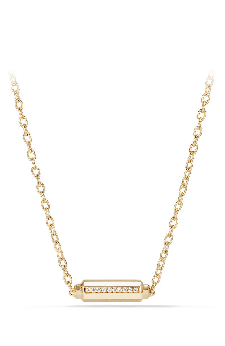 DAVID YURMAN Barrels Single Station Necklace with Diamonds in 18K Gold, Main, color, YELLOW GOLD