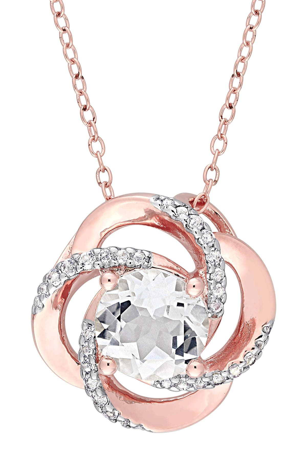 Image of Delmar 18K Rose Gold Vermeil White Topaz Interlaced Floral Swirl Pendant Necklace