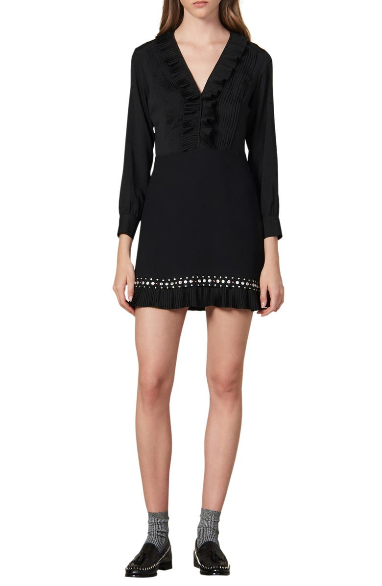 SANDRO Coreen Ruffle & Stud Detail Long Sleeve Fit & Flare Dress, Main, color, 001