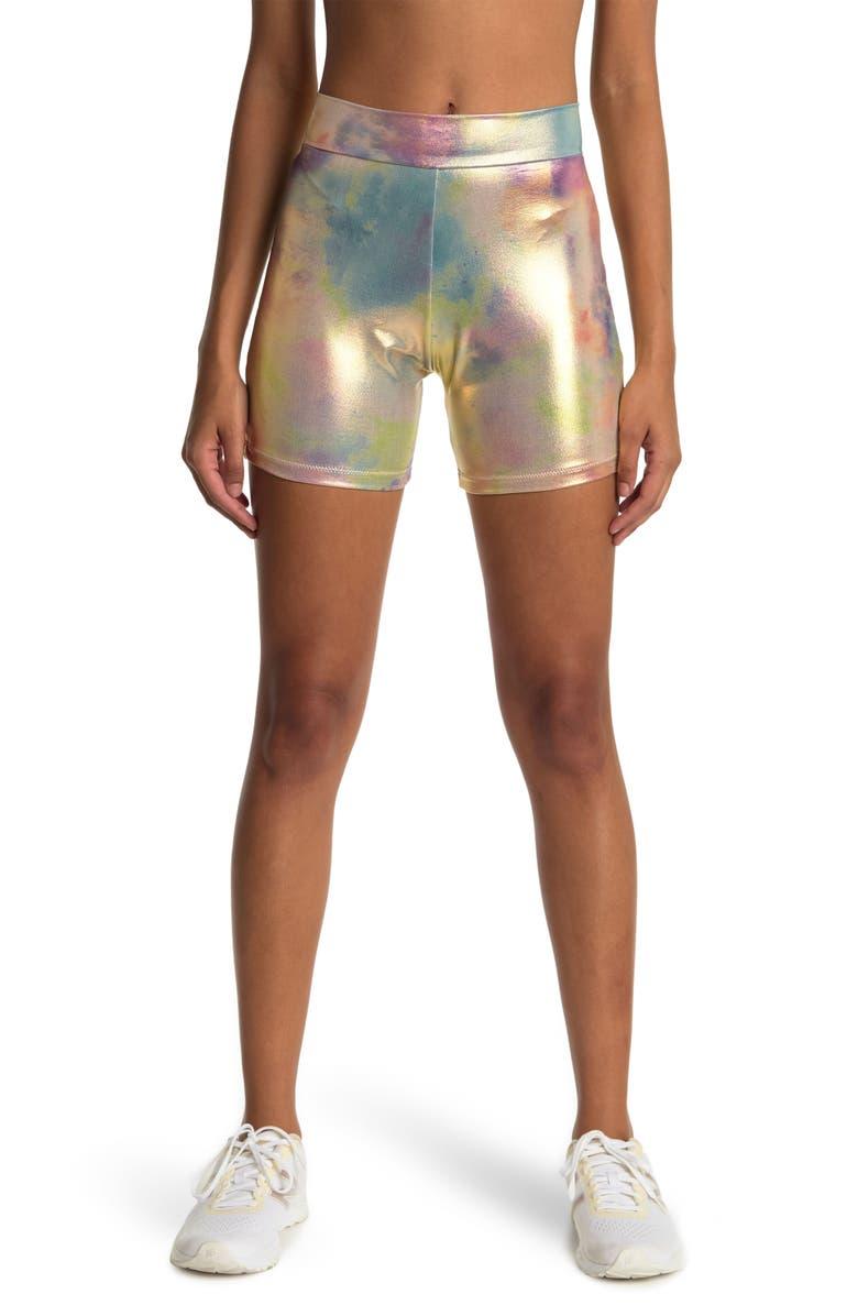 BOUND BY BOND-EYE Printed Bike Shorts, Main, color, COSMIC RAINBOW