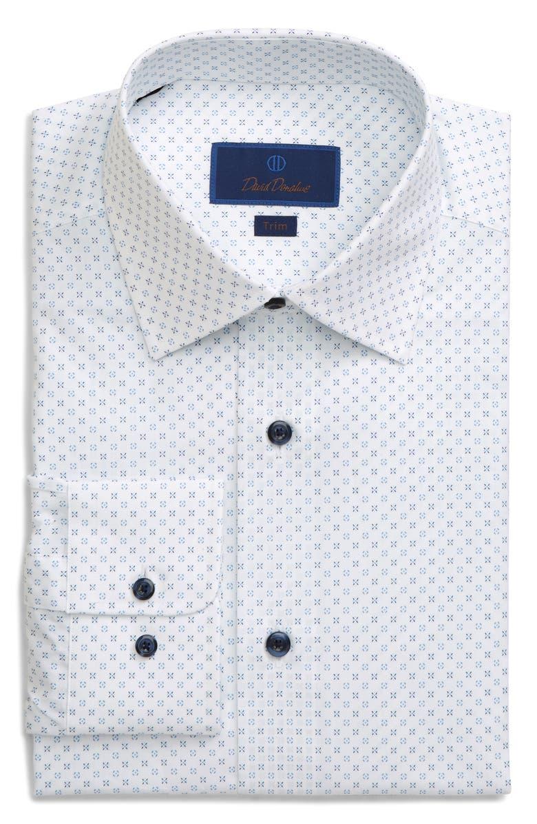 DAVID DONAHUE Trim Fit Dress Shirt, Main, color, WHITE/ BLUE
