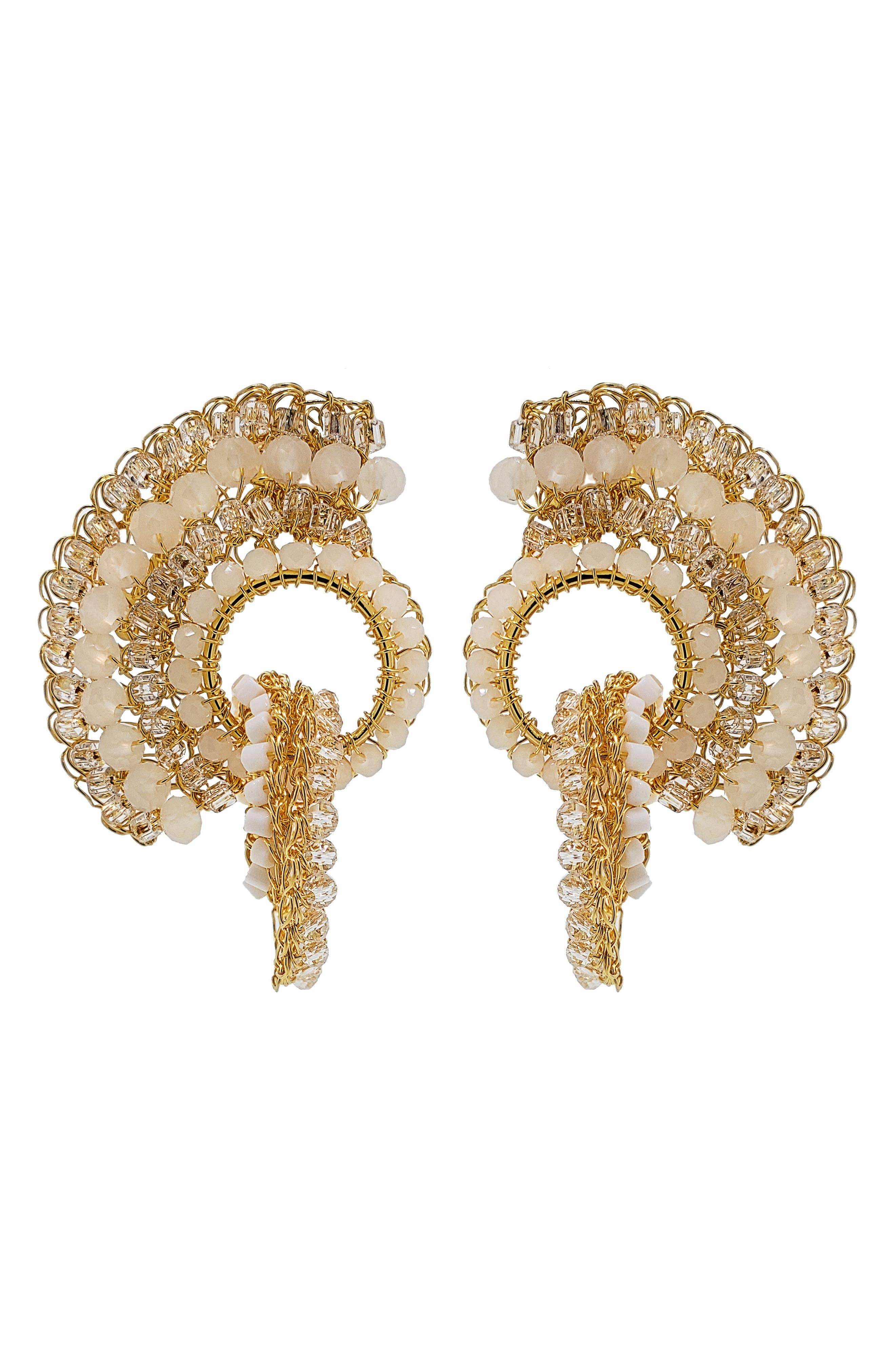 Women's Lavish Beaded Crochet Drop Earrings