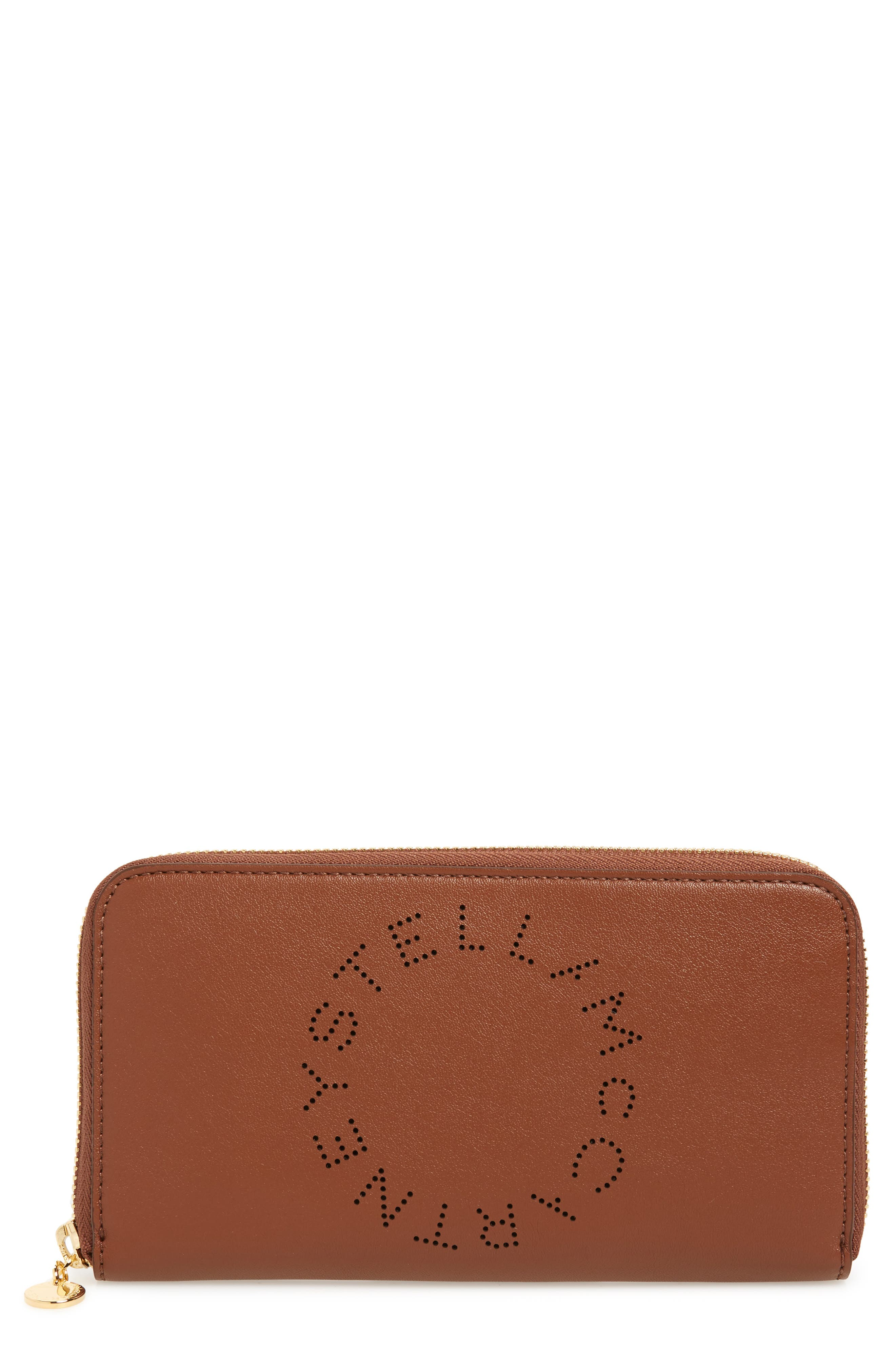 Stella Mccartney Alter Nappa Perforated Logo Faux Leather Wallet - Brown