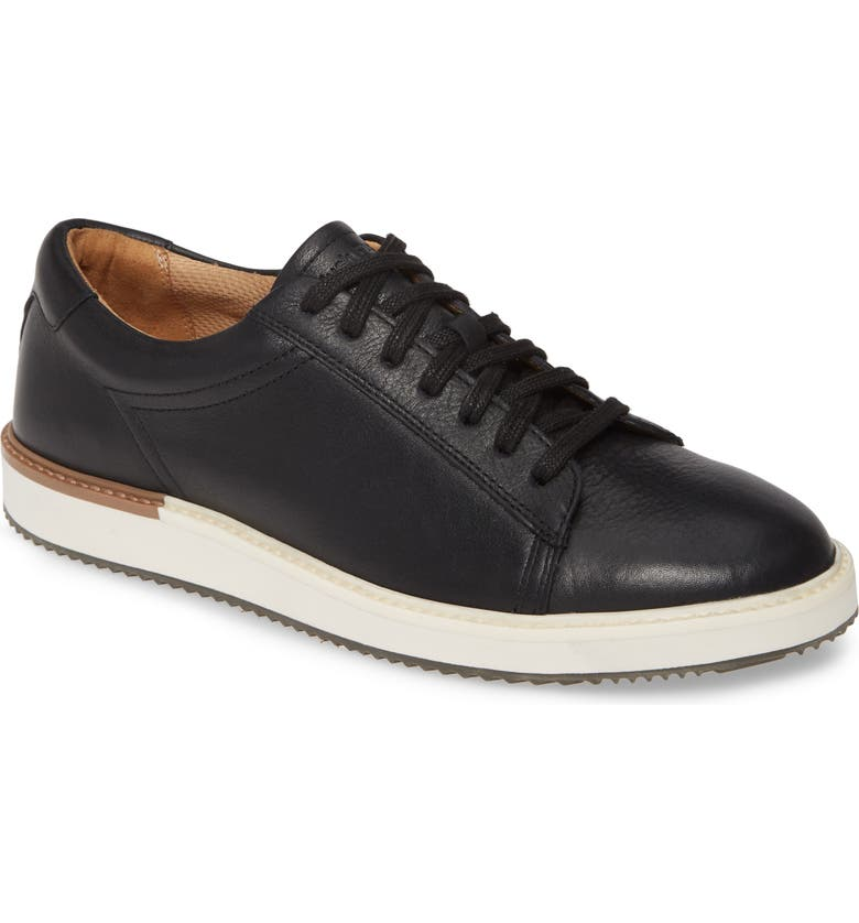 HUSH PUPPIES<SUP>®</SUP> Heath Sneaker, Main, color, BLACK LEATHER