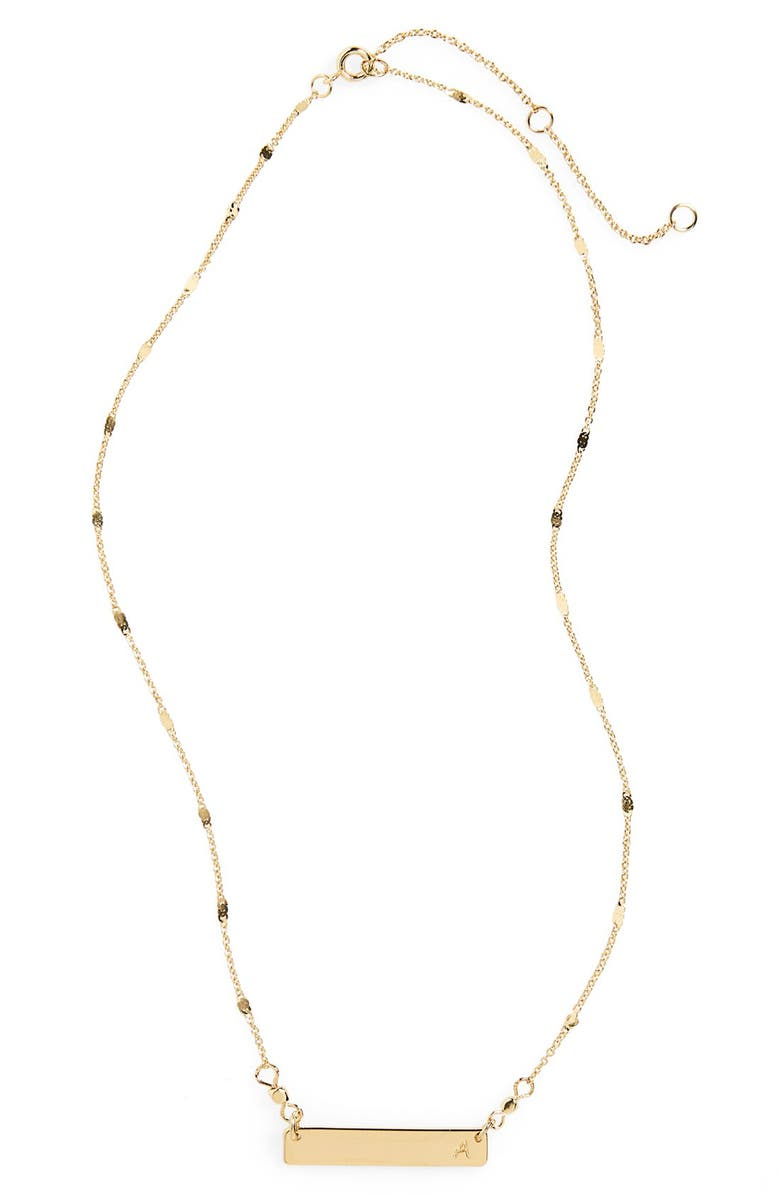 STEPHAN & CO. Initial Bar Necklace, Main, color, 710