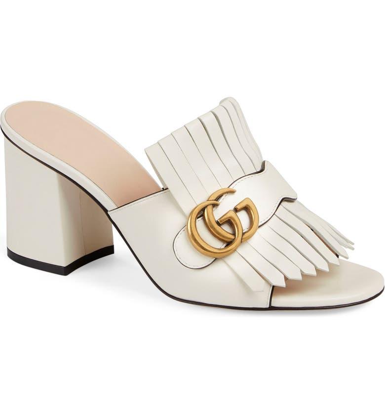 GUCCI Marmont Kiltie Fringe Slide Sandal, Main, color, MYSTIC WHITE