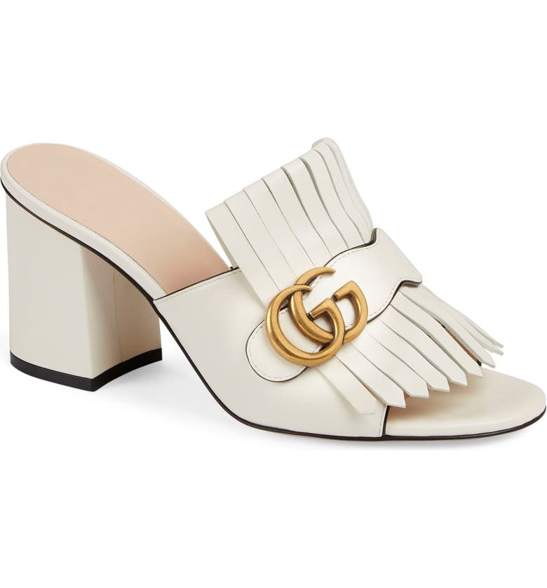GUCCI Kiltie Fringe Slide Sandal, Main, color, MYSTIC WHITE
