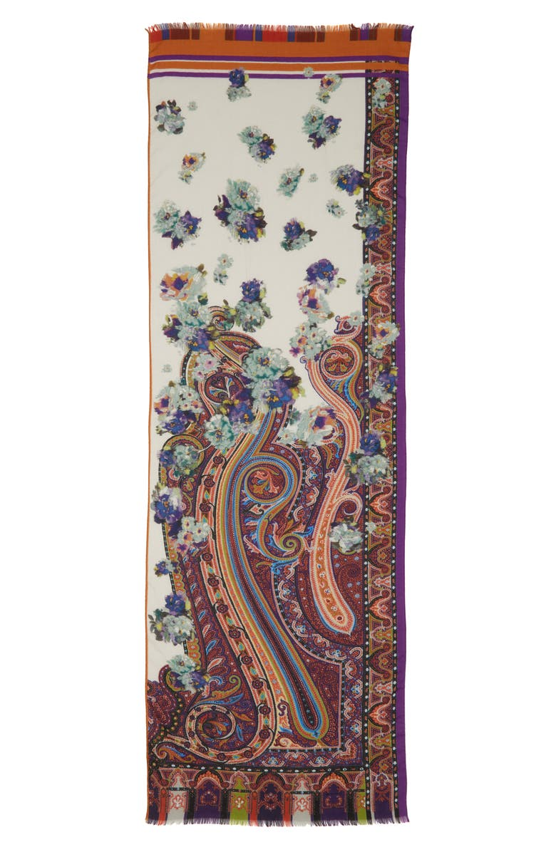 ETRO Floral Paisley Wool & Silk Scarf, Main, color, WHITE MULTI