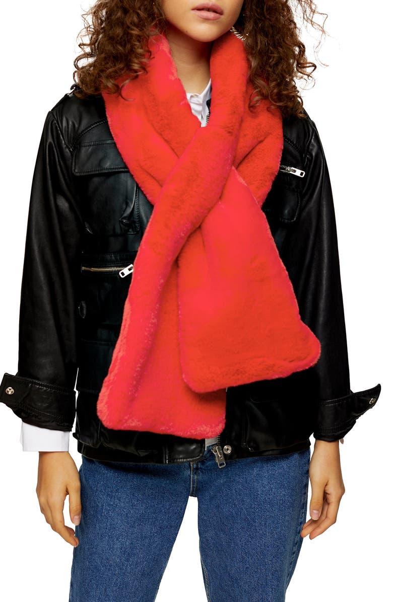 TOPSHOP Faux Fur Scarf, Main, color, 600