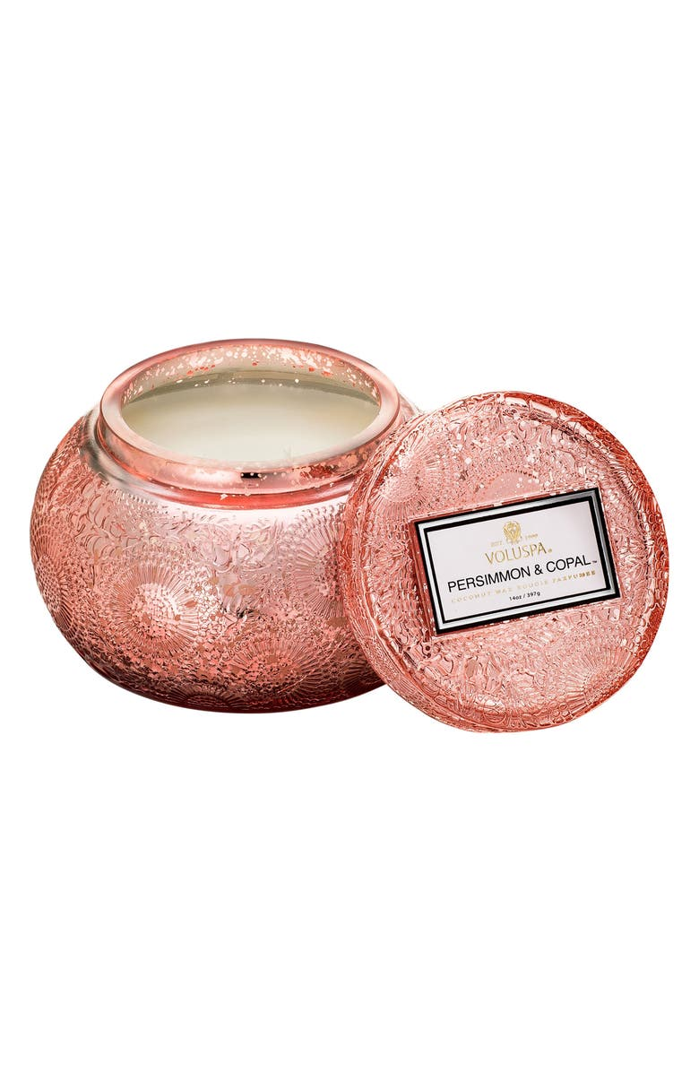 VOLUSPA Japonica Chawan Bowl Two-Wick Embossed Glass Candle, Main, color, PERSIMMON/ COPAL