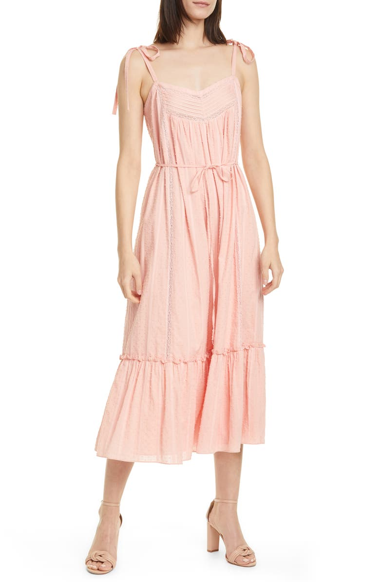 LA VIE REBECCA TAYLOR Kelsey Clip Dot Cotton Sundress, Main, color, BLOSSOM
