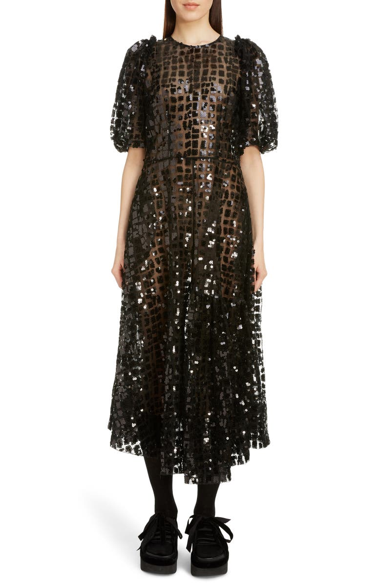 SIMONE ROCHA Sequin Grid Midi Dress, Main, color, BLACK