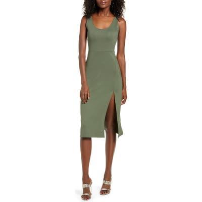 Leith Scoop Neck Midi Dress, Green
