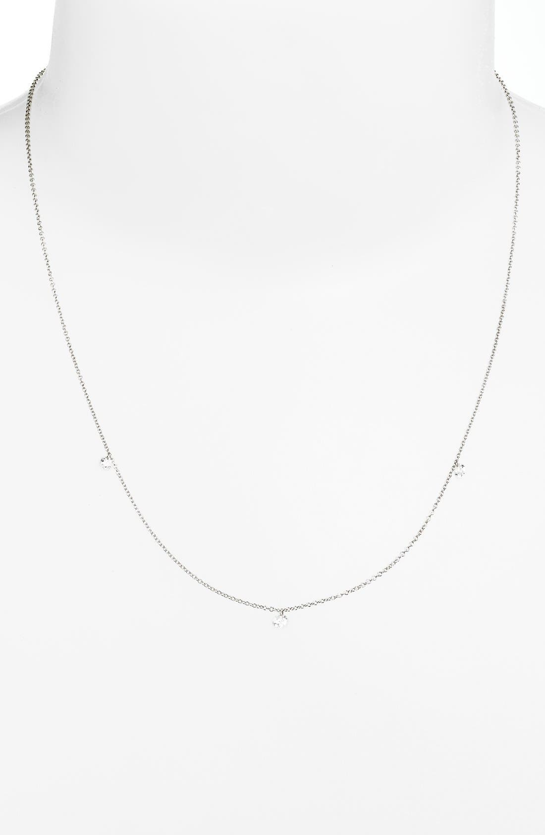 ,                             'Floating Diamond' 3-Diamond Necklace,                             Alternate thumbnail 4, color,                             WHITE GOLD
