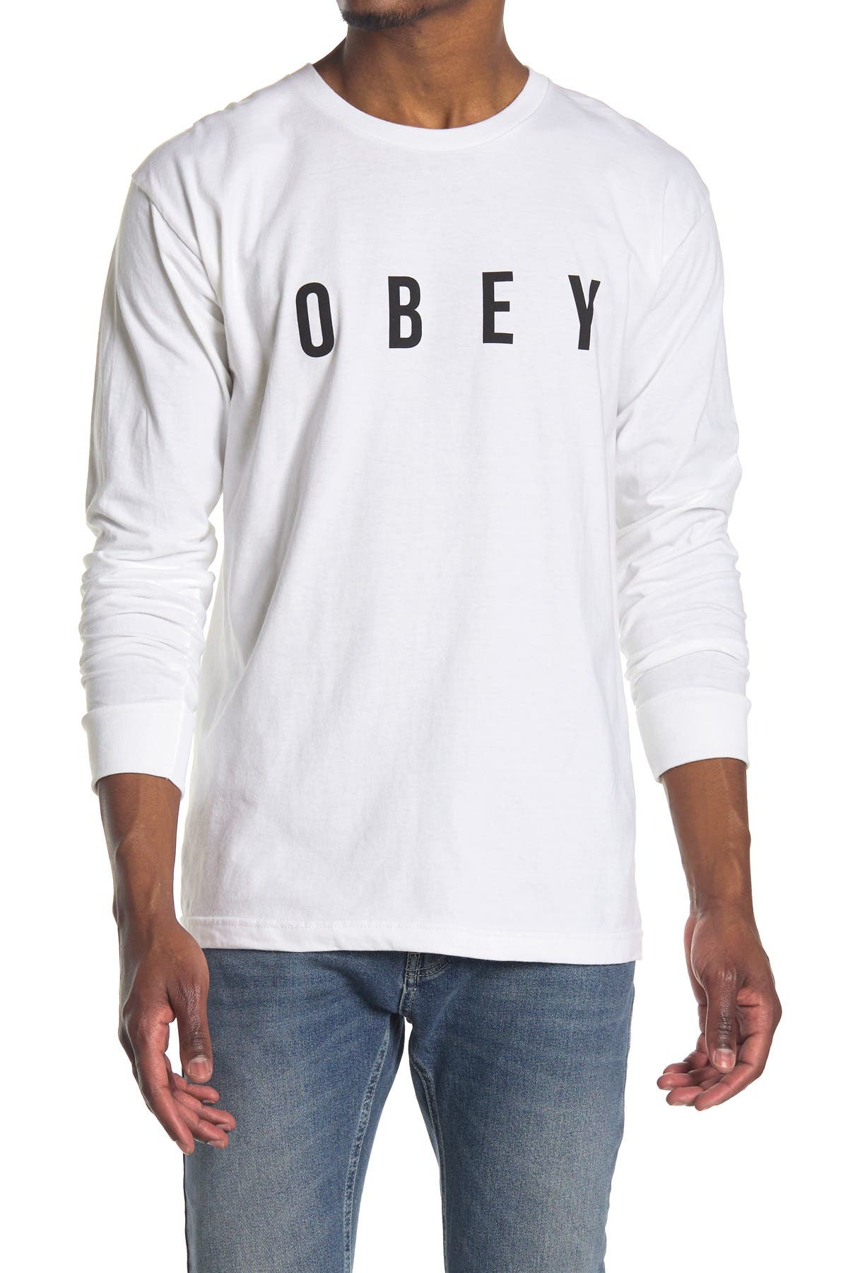 Image of Obey Anyway Long Sleeve Logo Graphic Shirt