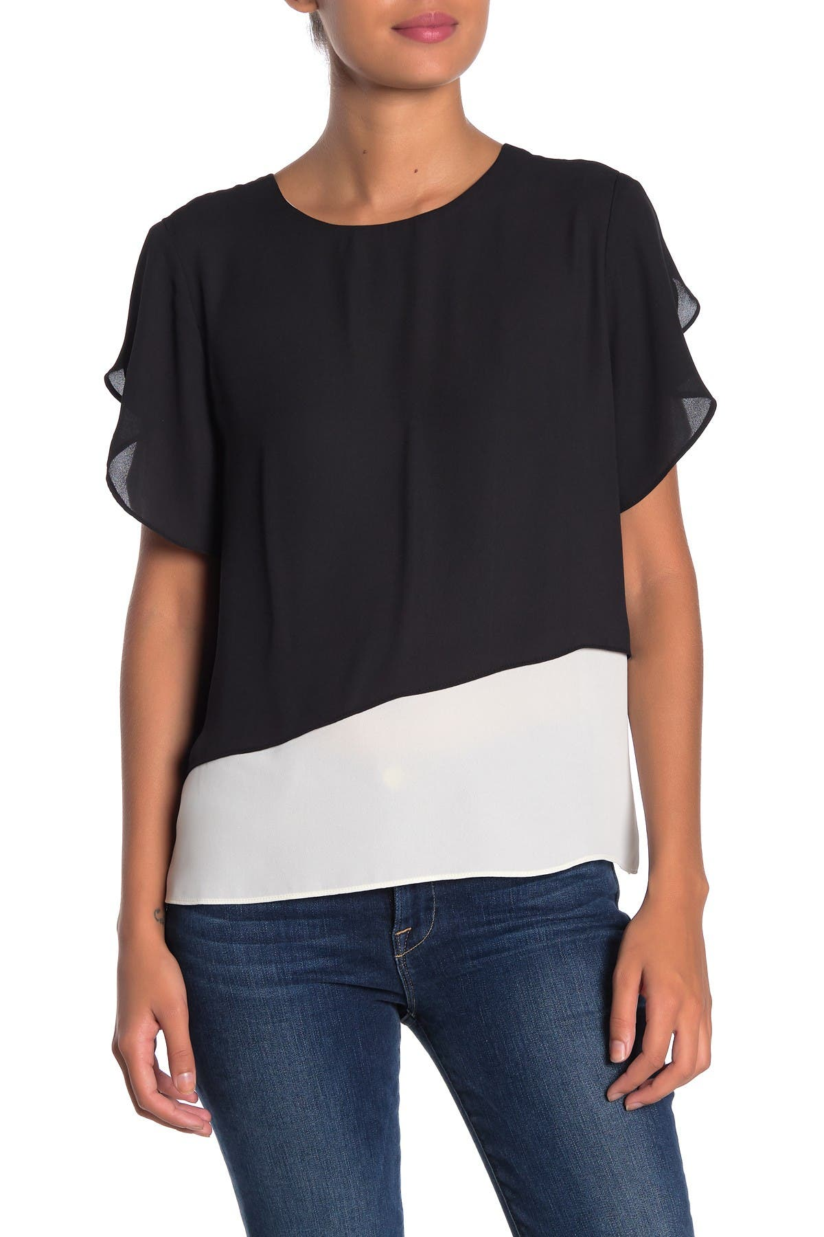 Image of 14th & Union Layered Butterfly Sleeve Blouse