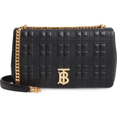 Burberry Medium Lola Tb Quilted Lambskin Leather Shoulder Bag - Black