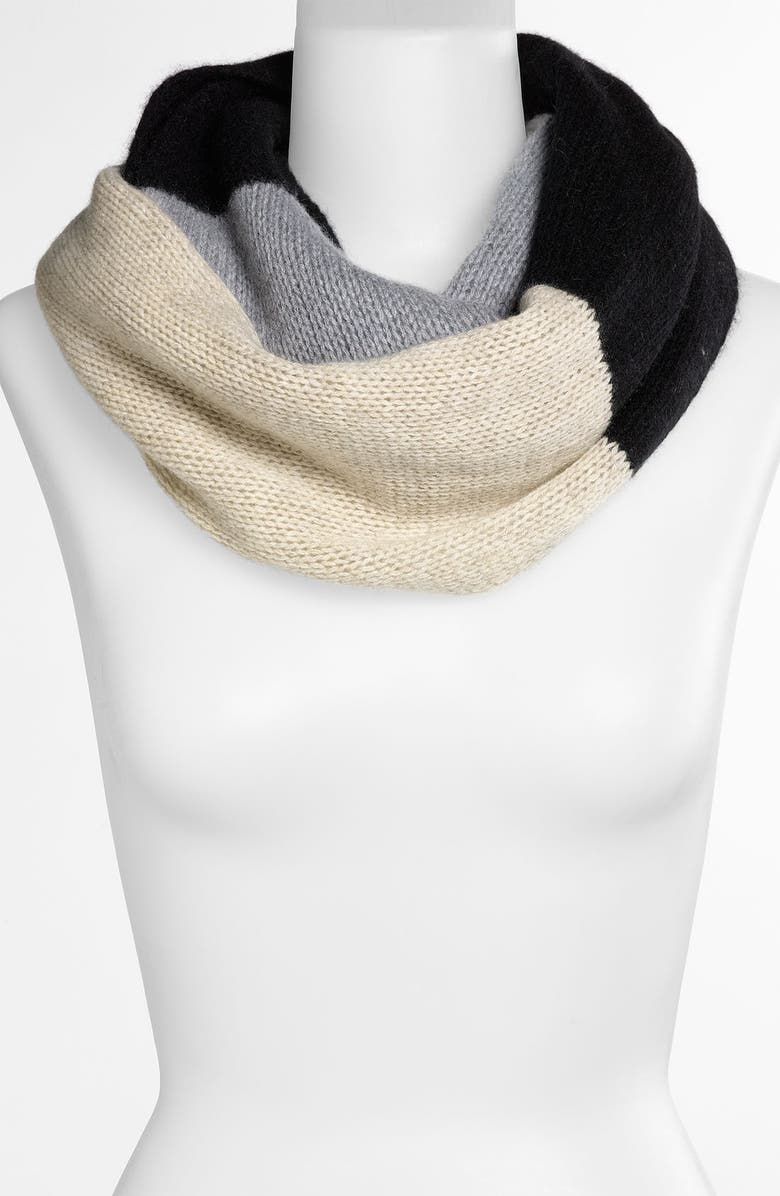 NORDSTROM Colorblock Cashmere Infinity Scarf, Main, color, 001