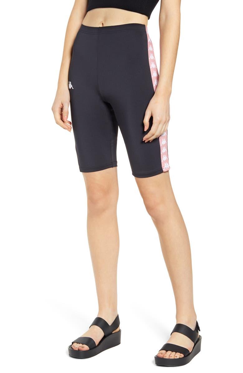 KAPPA Banda Longline Bike Shorts, Main, color, BLACK/ PINK/ WHITE