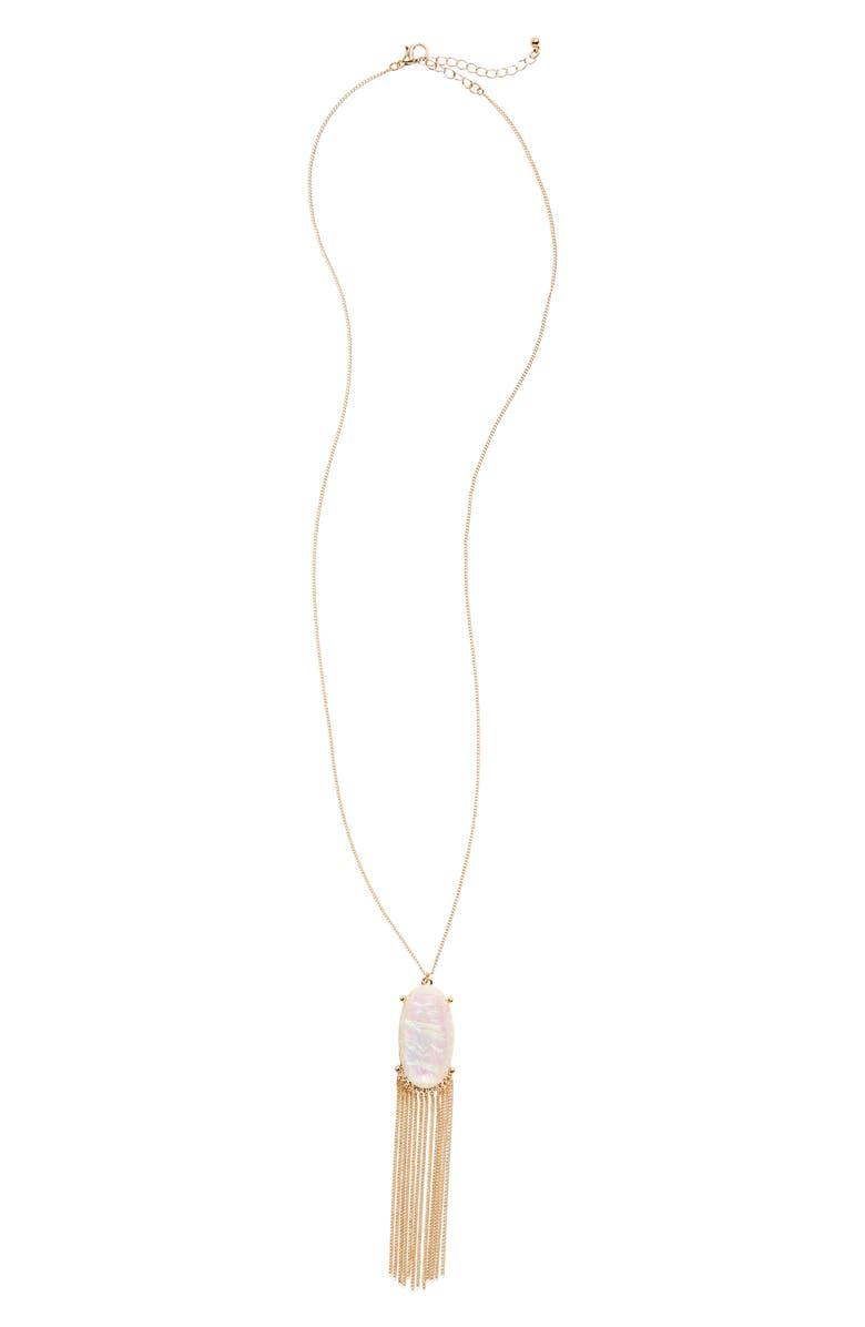 BP. Stone & Tassel Pendant Necklace, Main, color, 710