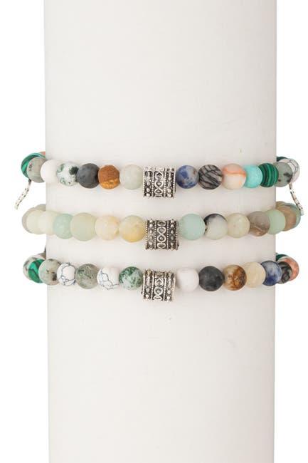 Image of Eye Candy Los Angeles Amazonite Mixed Agate 3-Piece Bracelet Set