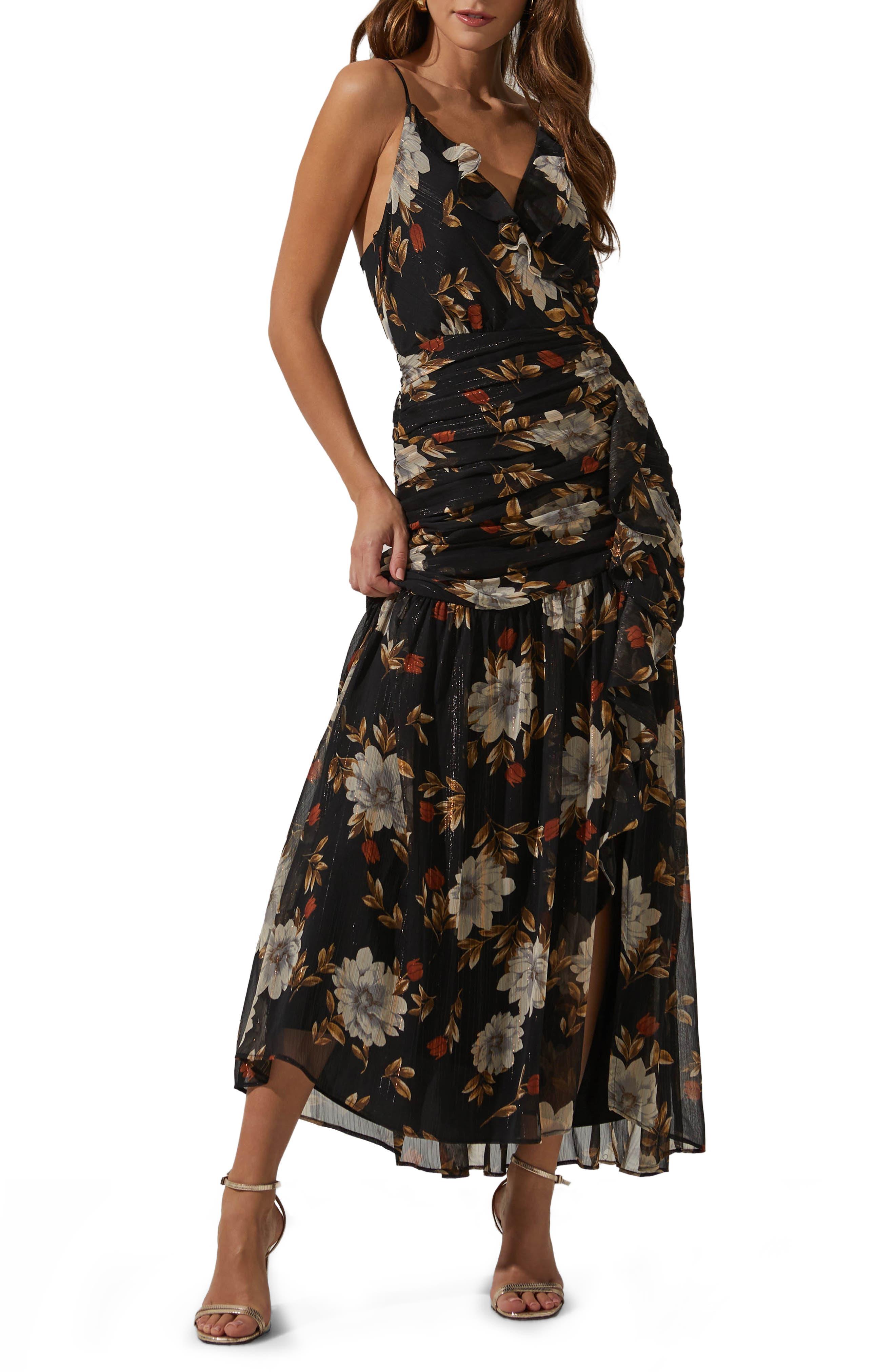 Sleeveless Ruched Ruffle Maxi Dress