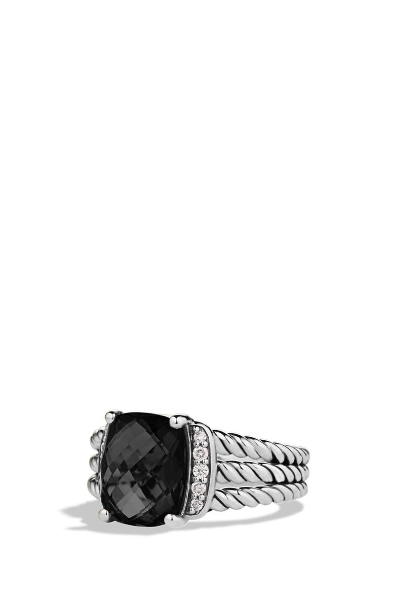 DAVID YURMAN 'Wheaton' Petite Ring with Semiprecious Stone & Diamonds, Main, color, BLACK ONYX
