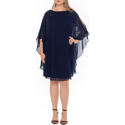 Plus Size Xscape Chiffon Overlay Beaded Sleeve Cocktail Dress, Blue