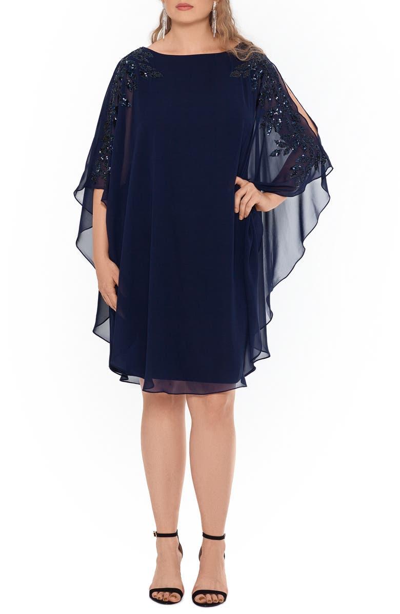XSCAPE Chiffon Overlay Beaded Sleeve Cocktail Dress, Main, color, NAVY/ NAVY/ BLACK