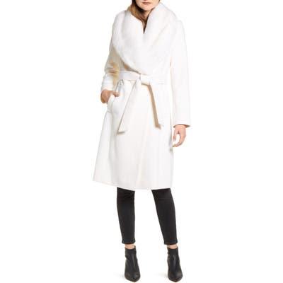 Rachel Parcell Faux Fur Collar Wool Blend Coat, Size - (Nordstrom Exclusive)