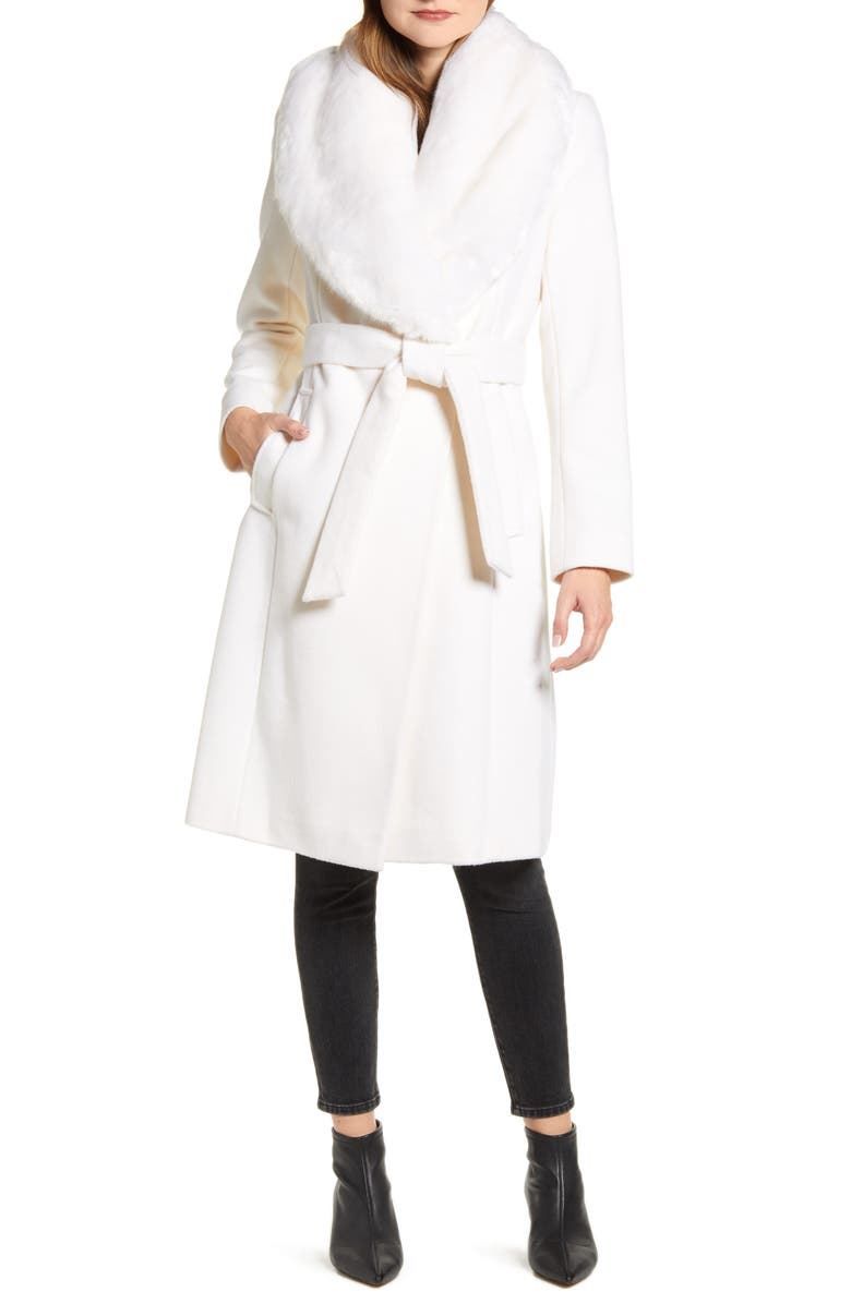 RACHEL PARCELL Faux Fur Collar Wool Blend Coat, Main, color, IVORY CLOUD