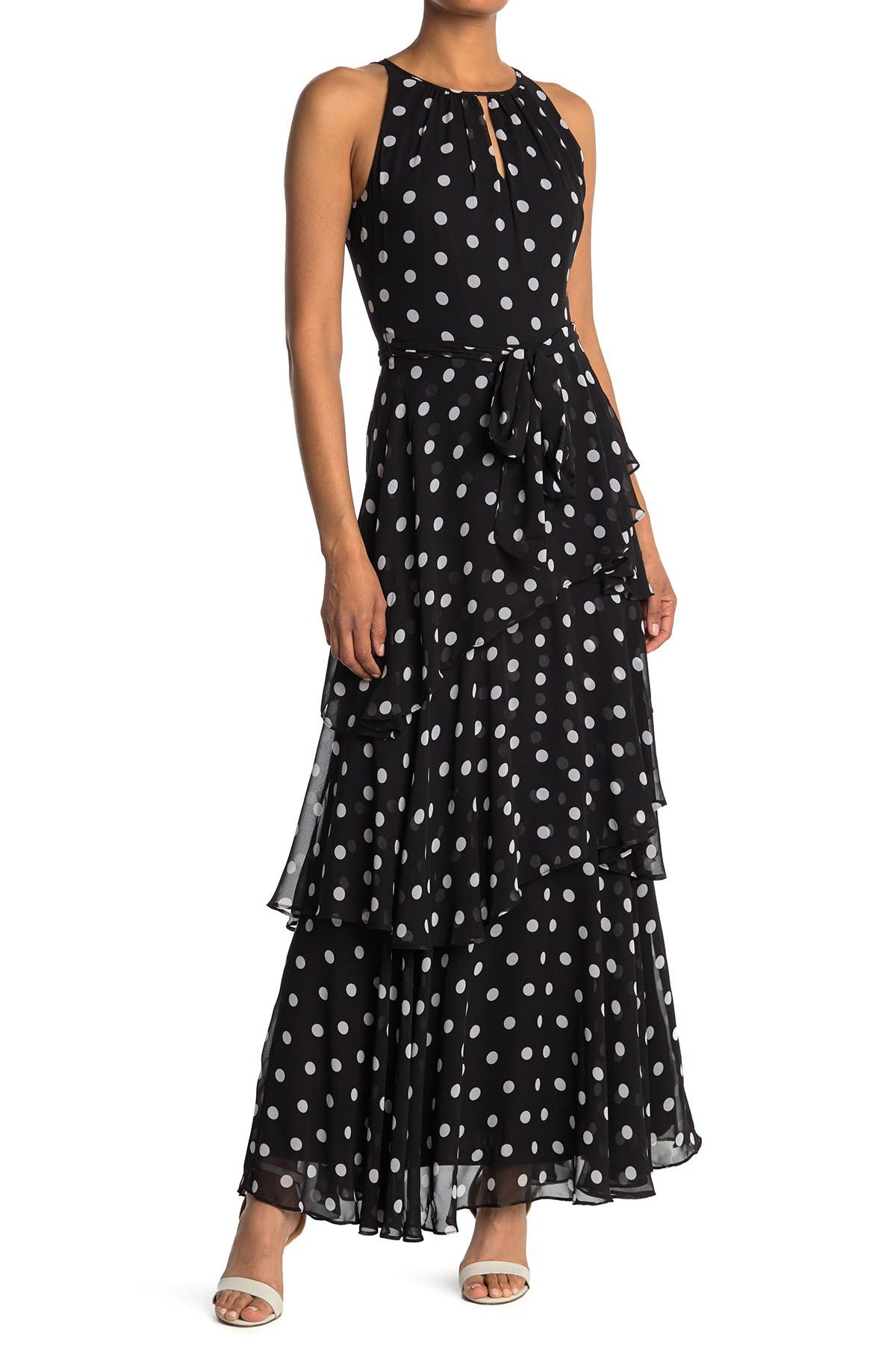 Image of Tahari Polka Dot Sleeveless Tiered Maxi Dress