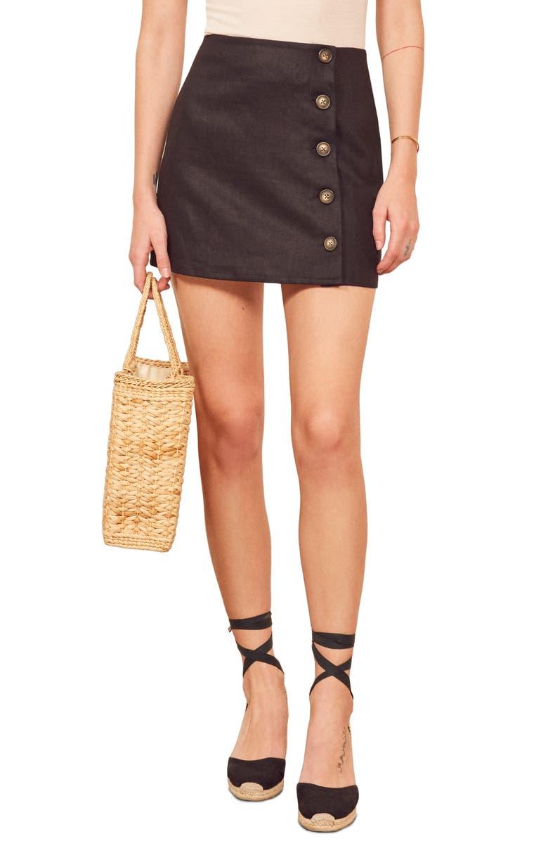 REFORMATION Candella Button Detail Linen Miniskirt, Main, color, 001