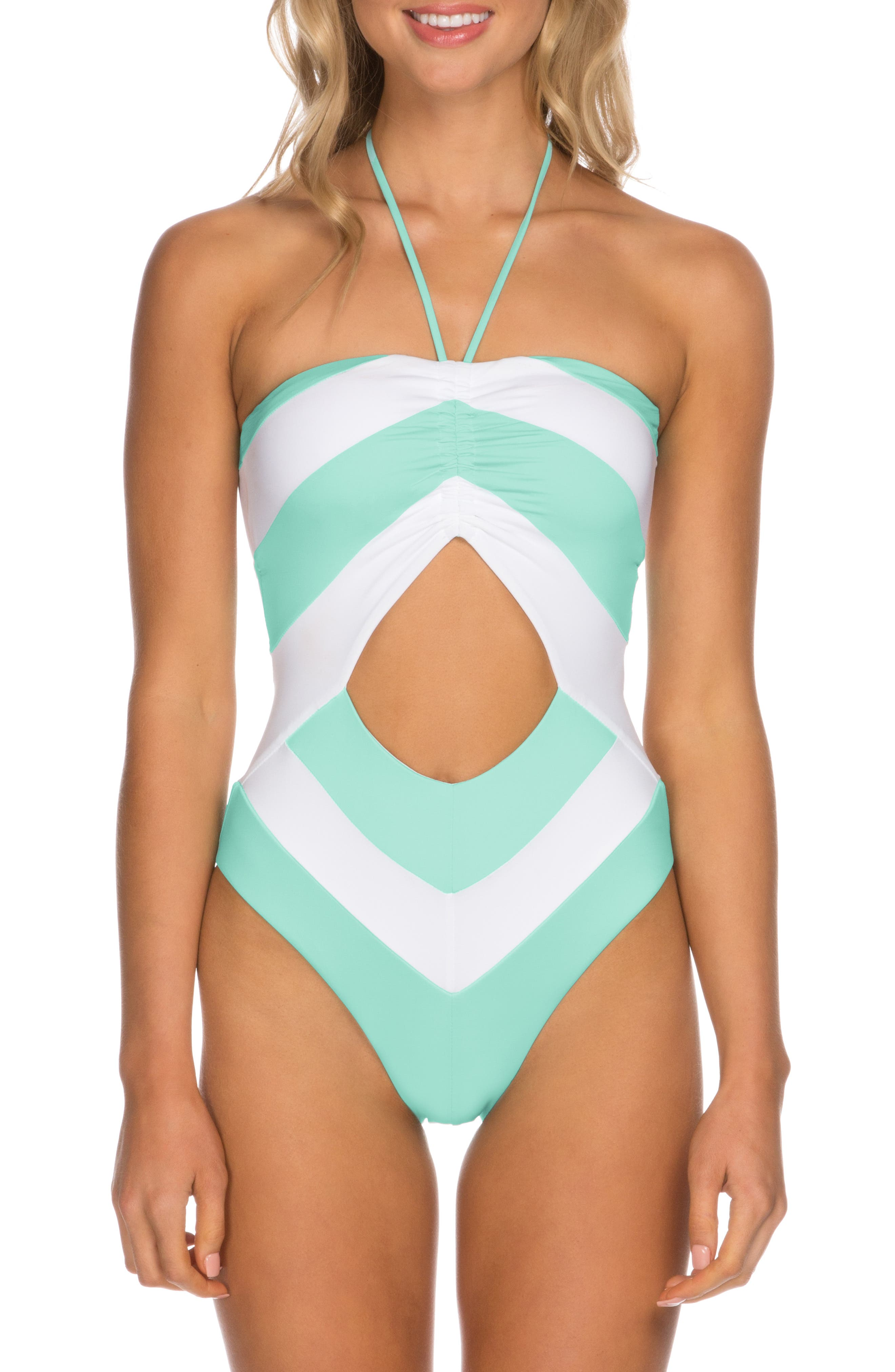 60s Swimsuits, 70s Bathing Suits | Retro Swimwear Womens Isabella Rose Block Party One-Piece Swimsuit $138.00 AT vintagedancer.com