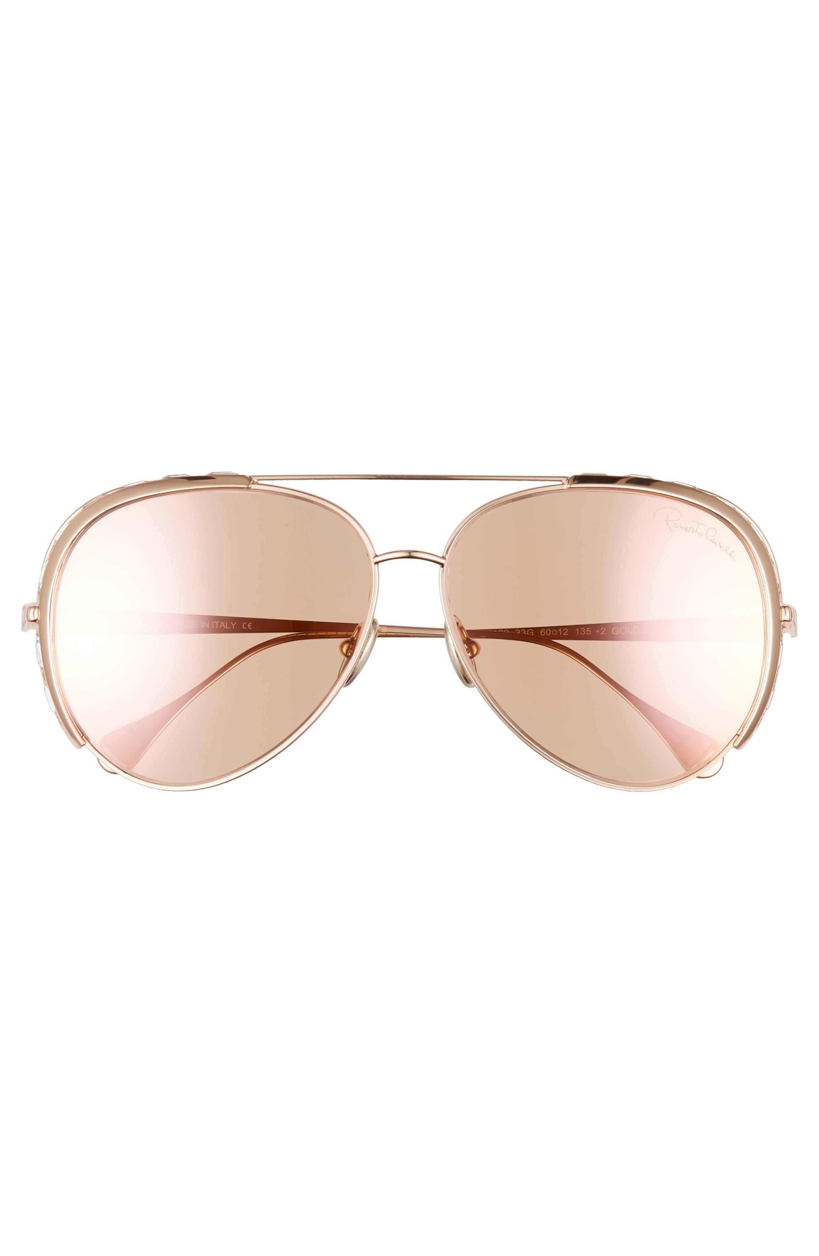 Roberto Cavalli Sunglasses 60mm Mirrored Aviator Sunglasses