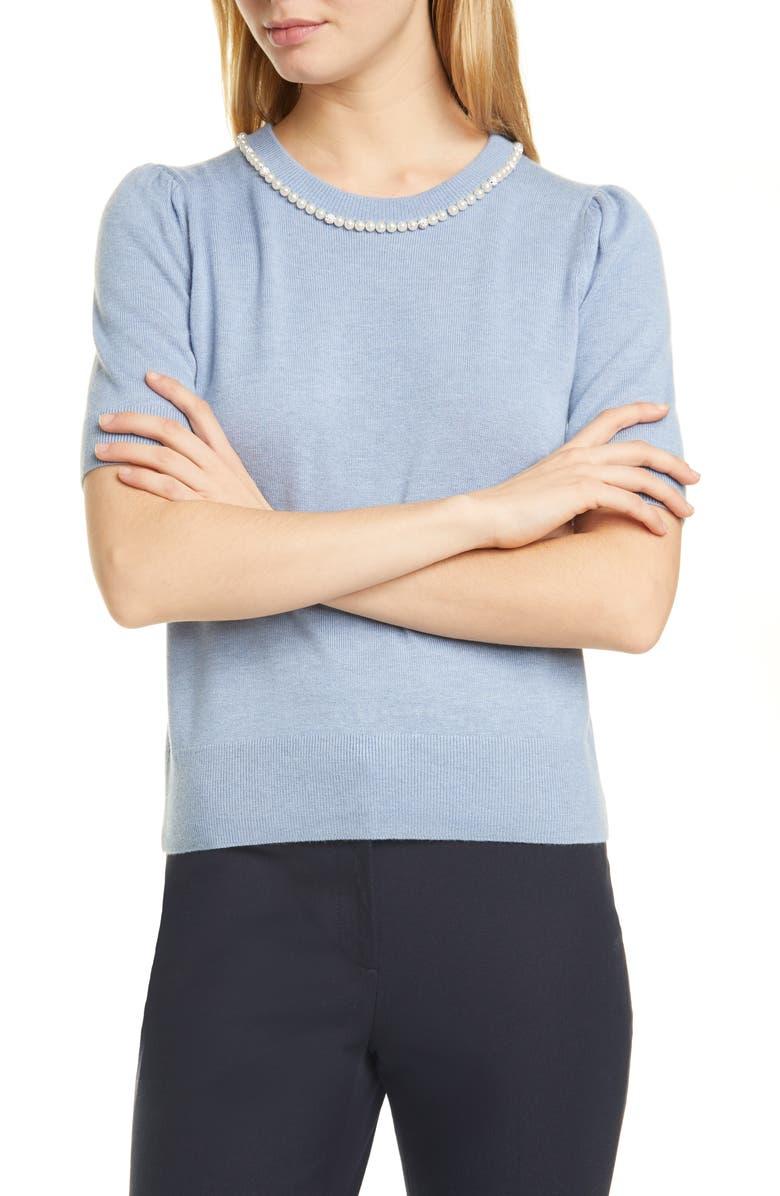 KATE SPADE NEW YORK pearl & pavé collar short sleeve sweater, Main, color, RAIN DROP