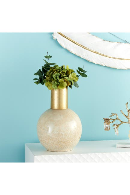 Image of CosmoLiving by Cosmopolitan Modern Style Large Round Gold & White Metal Vase