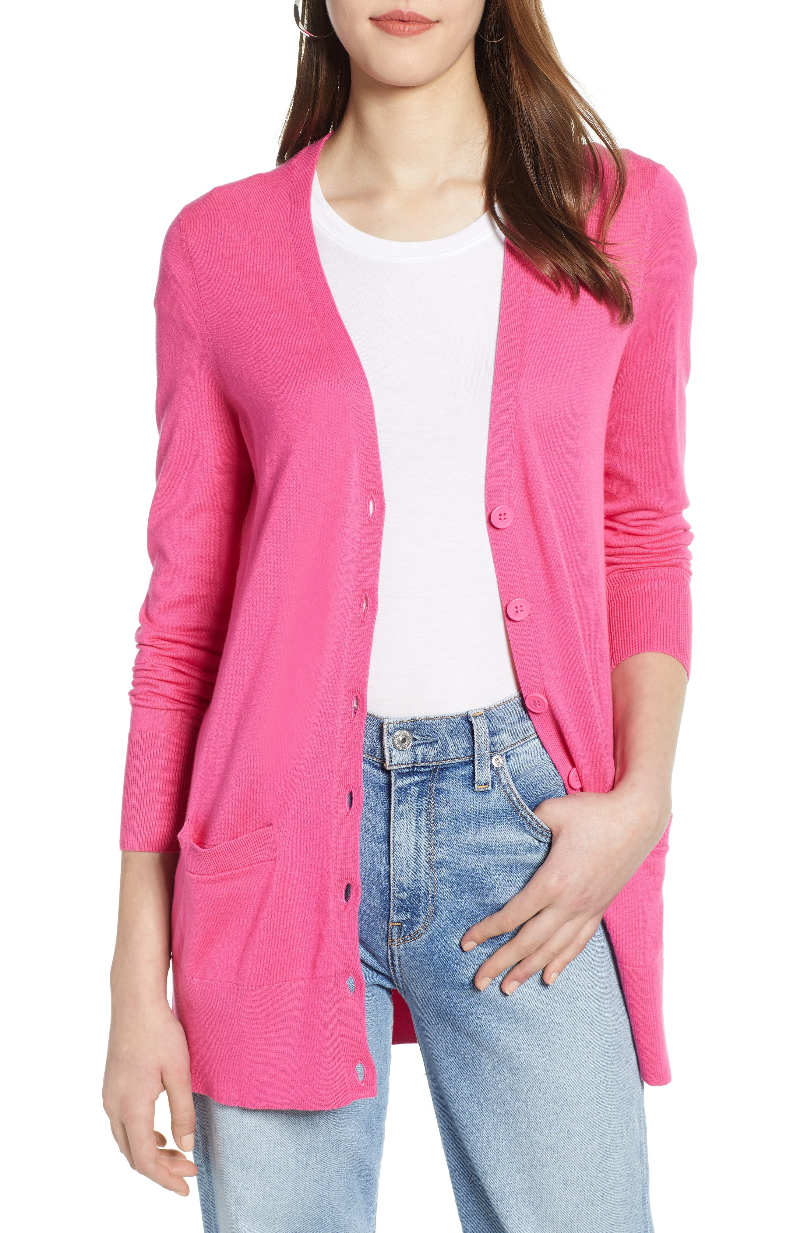 Petite Halogen Button Front Cardigan, Pink