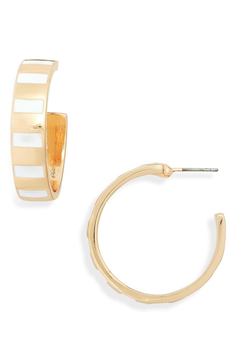 BP. Enamel Stripe Hoop Earrings, Main, color, WHITE- GOLD