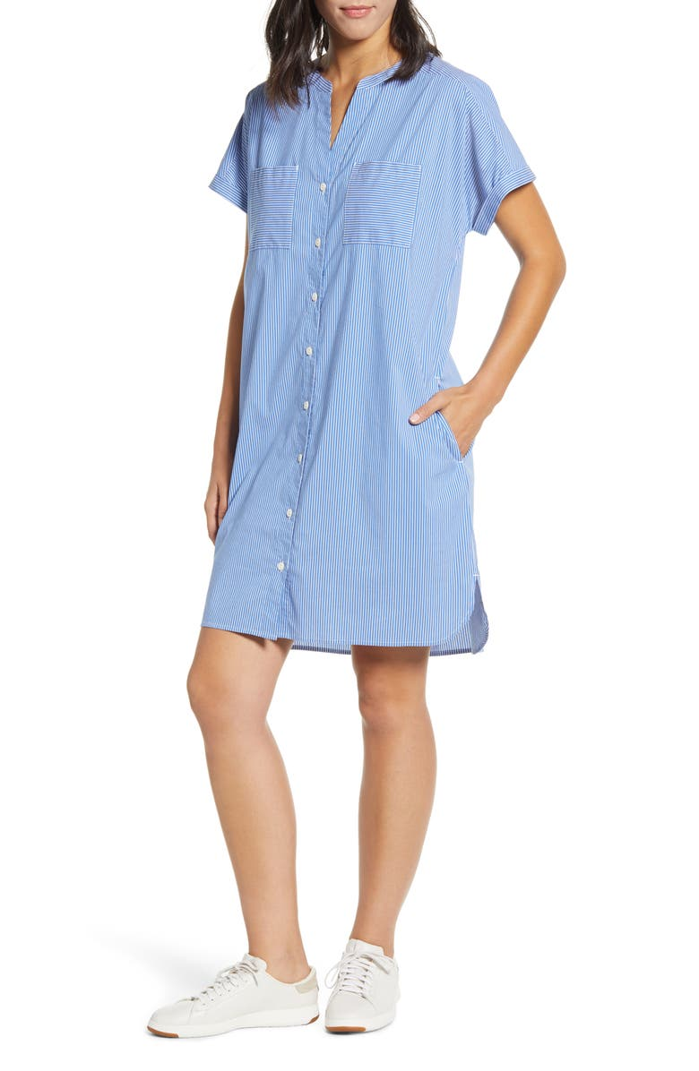 TOMMY BAHAMA Beach You To It Cotton Blend Shirtdress, Main, color, TURKISH SEA