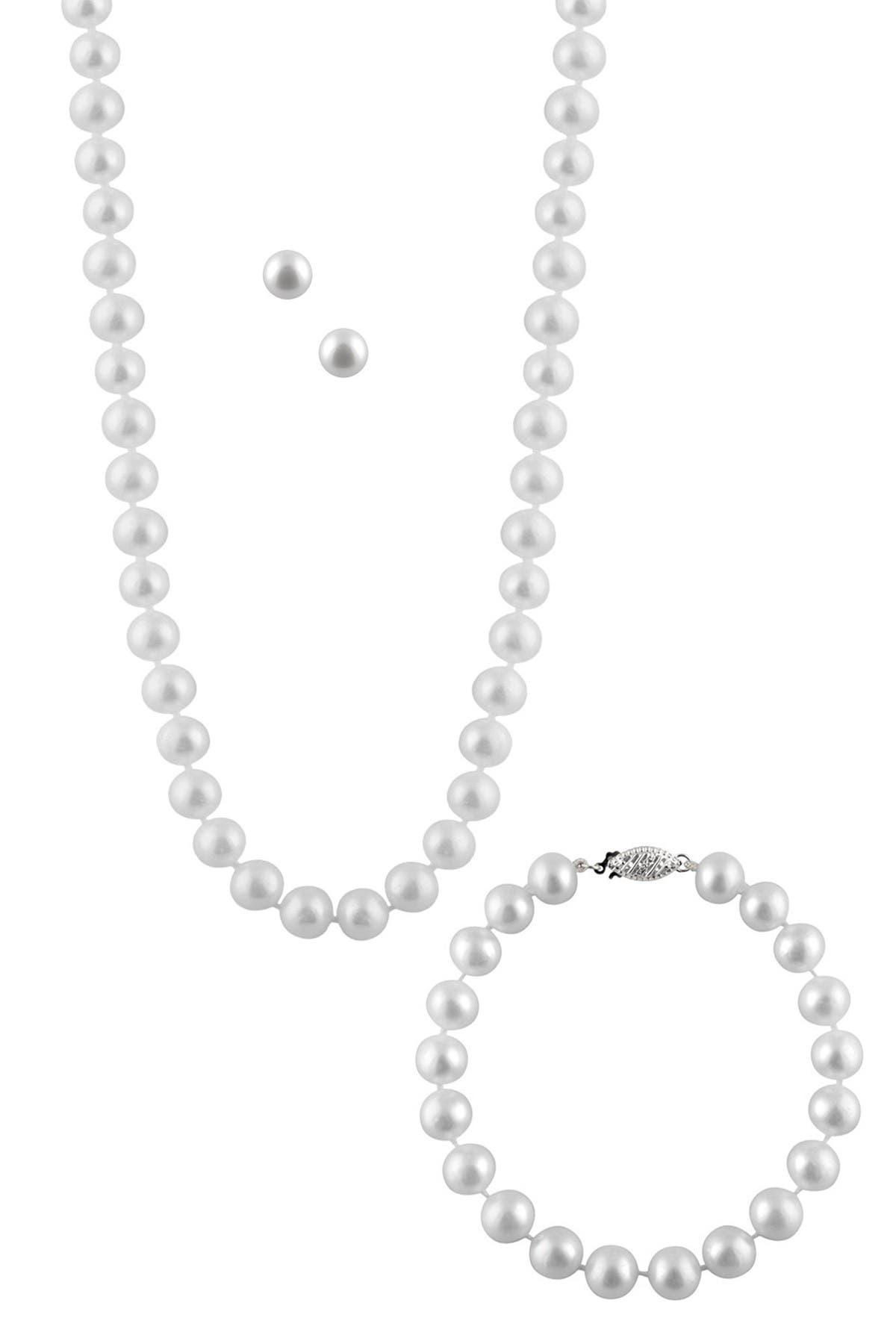 Image of Splendid Pearls 7-8mm Freshwater Pearl Necklace, Bracelet, & Earrings 3-Piece Set
